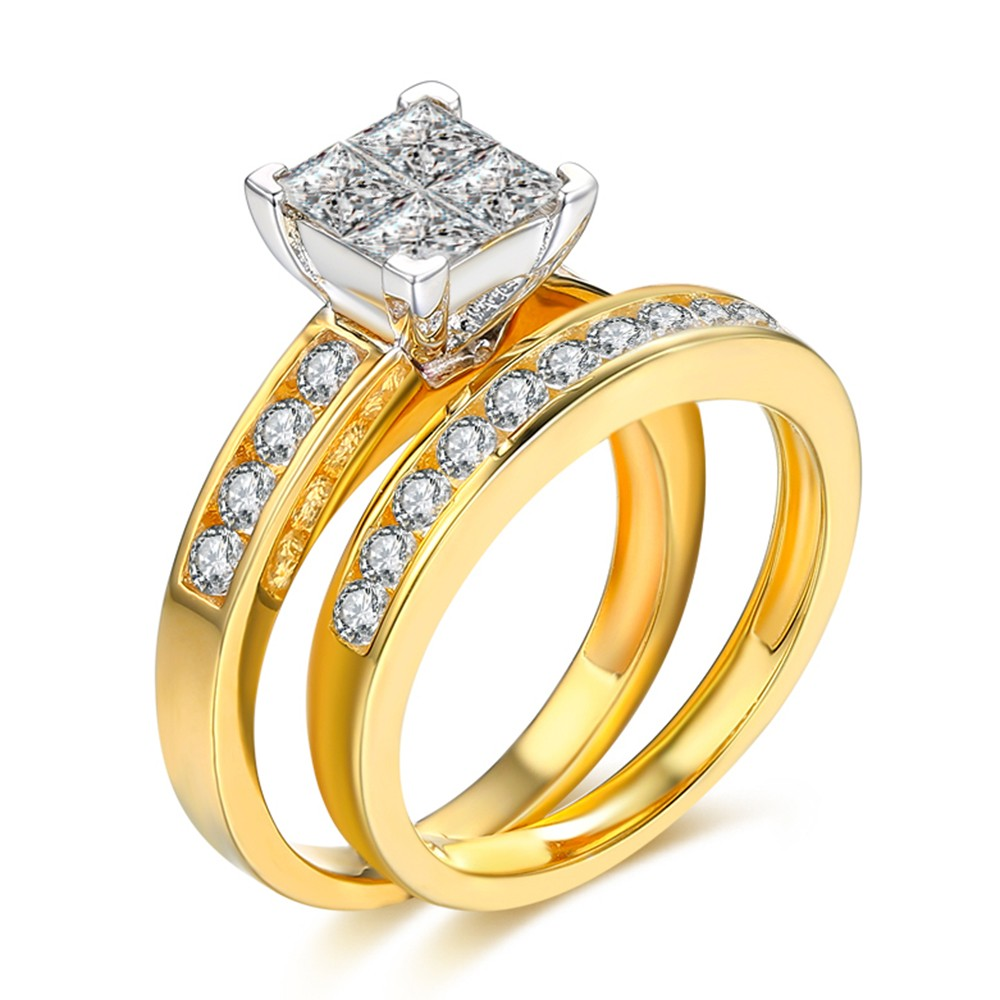 Corte Princesa 1-1/2CT Piedra Preciosa Plata de Ley 925 Conjuntos de Anillos de Novia