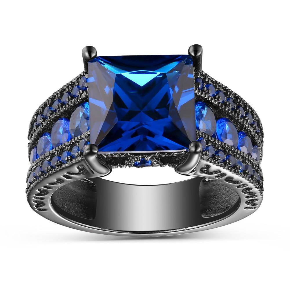 Azul Zafiro Corte Princesa Negro Plata de Ley 925 Anillos de Compromiso