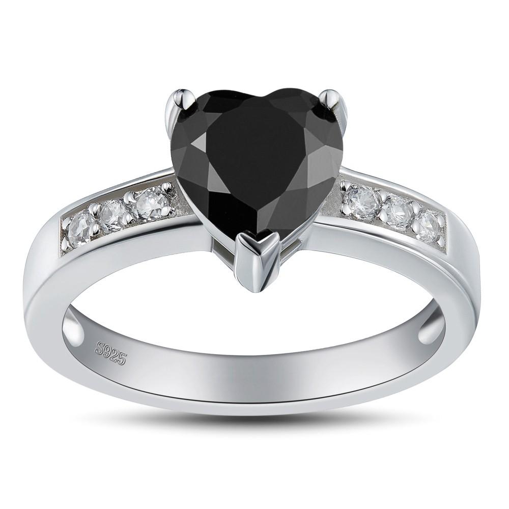 Corte Doble Corazón Negro Plata de Ley 925 Anillos de Promesa Para Ella