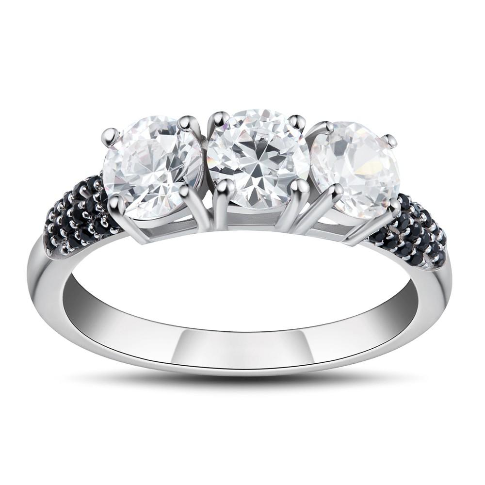 Corte Redondo Piedra Preciosa Plata de Ley 925 Anillos de Promesa Para Ella