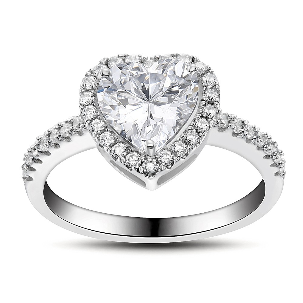 Corte Doble Corazón Piedra Preciosa Plata de Ley 925 Anillo de Compromiso