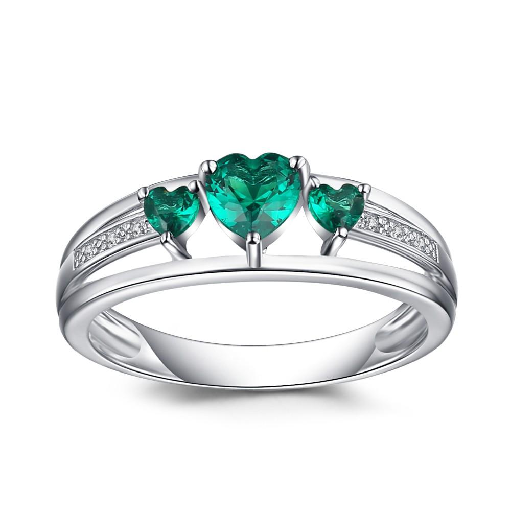 Corte Doble Corazón Esmeralda Plata de Ley 925 Anillo de Compromiso de las Mujeres