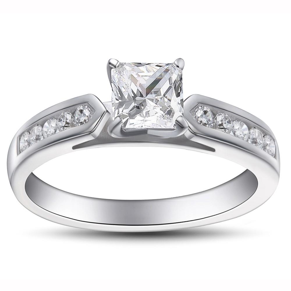 Corte Princesa Piedra Preciosa Plata de Ley 925 Anillo de Compromiso