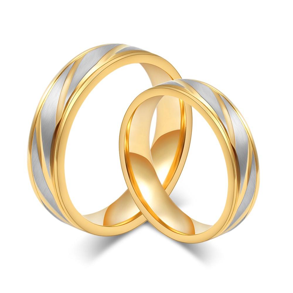 Oro y Plata Acero Titanio Anillo de Promesa para Parejas