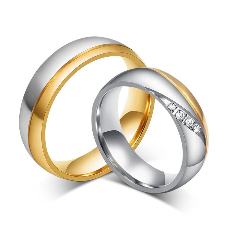 Moda Oro y Plata Acero Titanio Piedra Preciosa Anillo de Promesa para Parejas