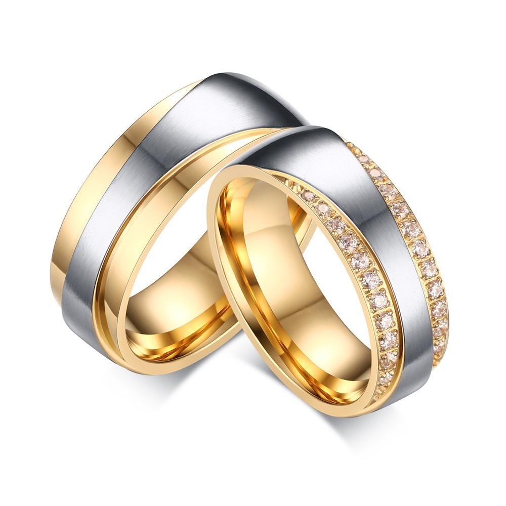 Oro y Plata Piedra Preciosa Acero Titanio Anillo de Promesa para Parejas