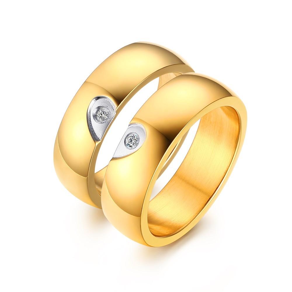 Elegante Diseño de Corazón Oro Acero Titanio Piedra Preciosa Anillo de Promesa para Parejas