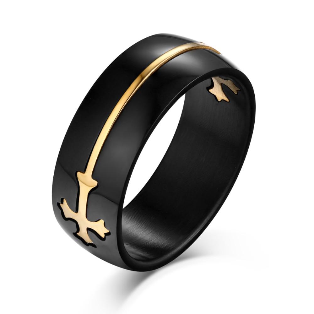 Oro Diseño Cruzado Negro Acero Titanio Anillo de las Hombre