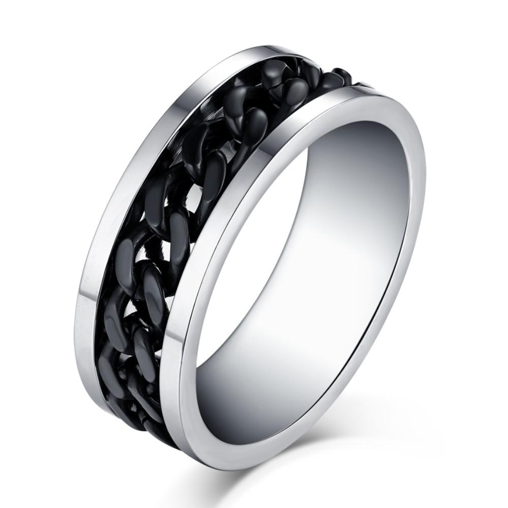 Negro Diseño de la Cadena Plata Acero Titanio Anillo de las Hombre