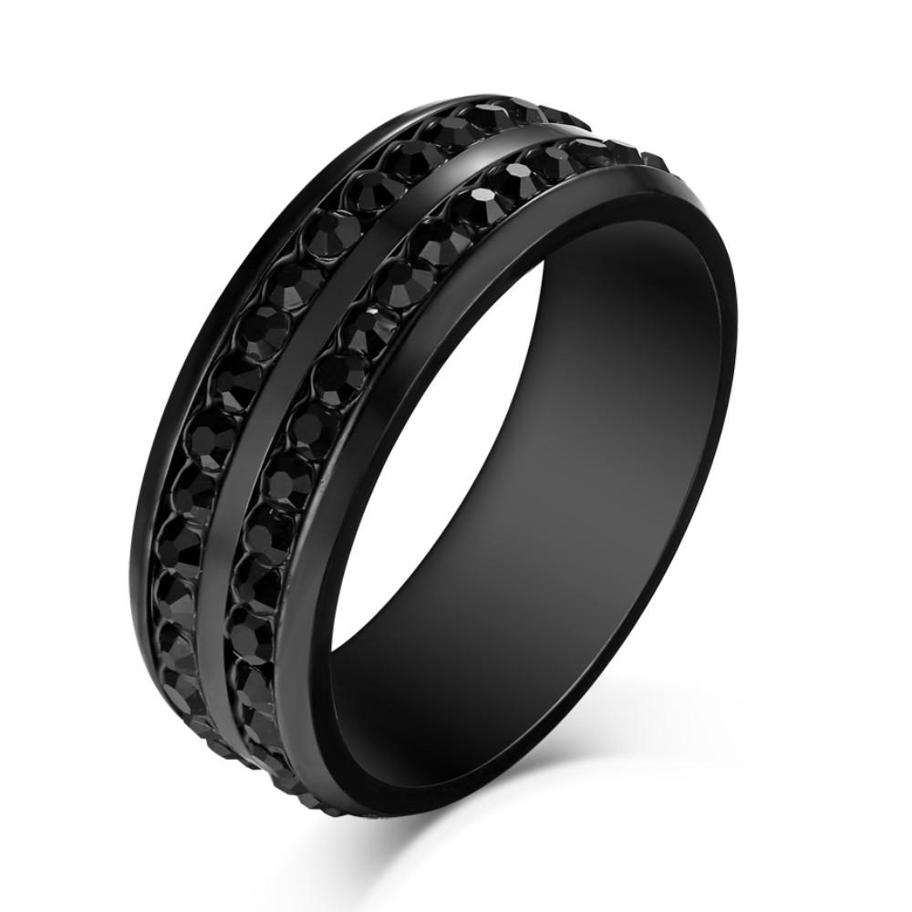 Corte Redondo Piedra Preciosa Negro Acero Titanio Anillo de las Hombre