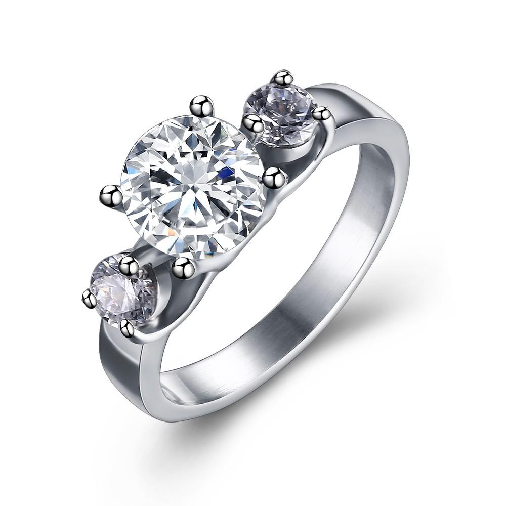 Corte Redondo Piedra Preciosa Plata Acero Titanio Anillo de Compromiso de las Mujeres