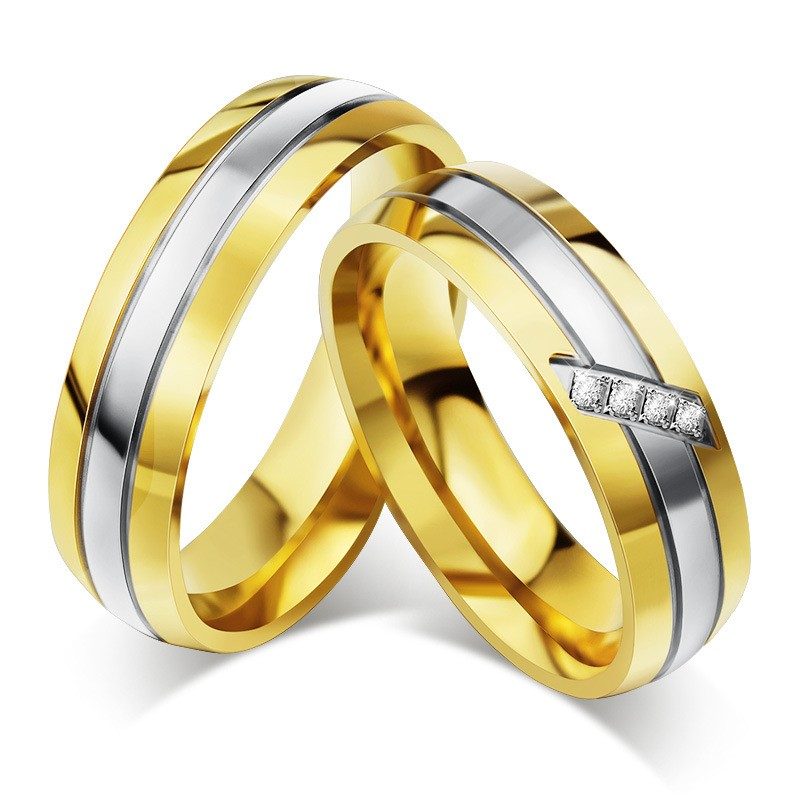 Corte Redondo Zafiro Blanco Oro y Plata Acero Titanio Anillos de Promesa para Parejas