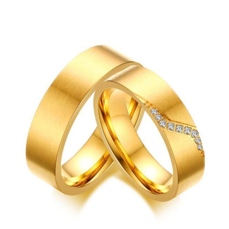 Acero Titanio Oro Zafiro Blanco Anillos de Promesa para Parejas