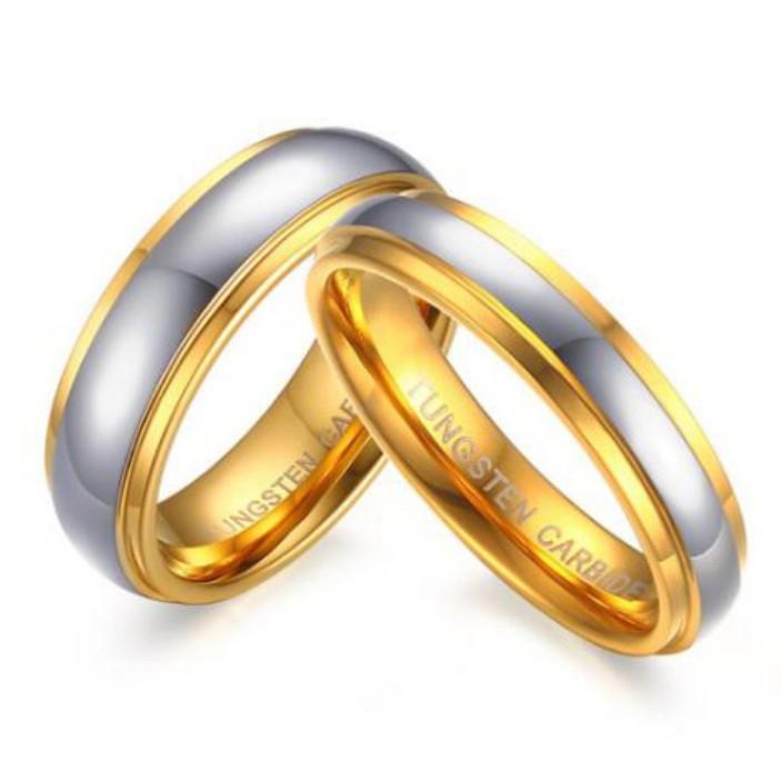 Acero Titanio Oro & Plata Anillos de Promesa para Parejas
