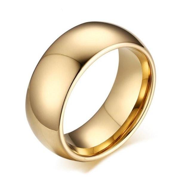 Tungsten Oro Color Sencillo Anillo de las Hombre