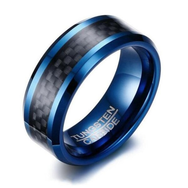 Tungsten Real Azul & Negro Anillo de las Hombre