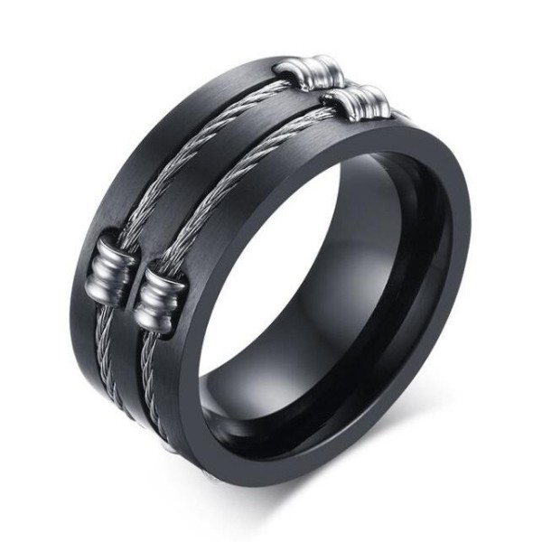 Titanio Negro Steel Wire Anillo de las Hombre