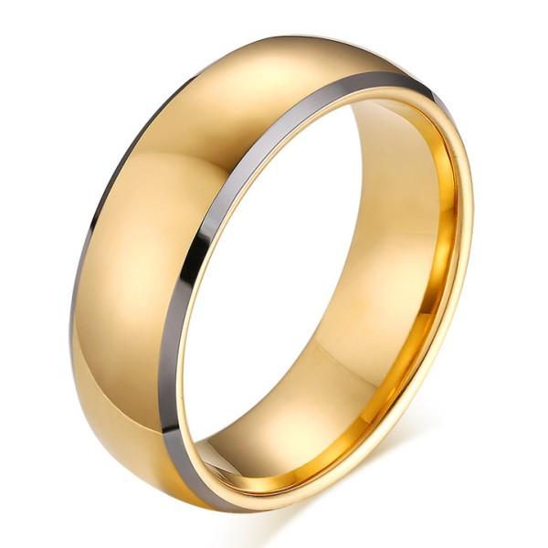 Tungsten Oro Color Anillo de las Hombre