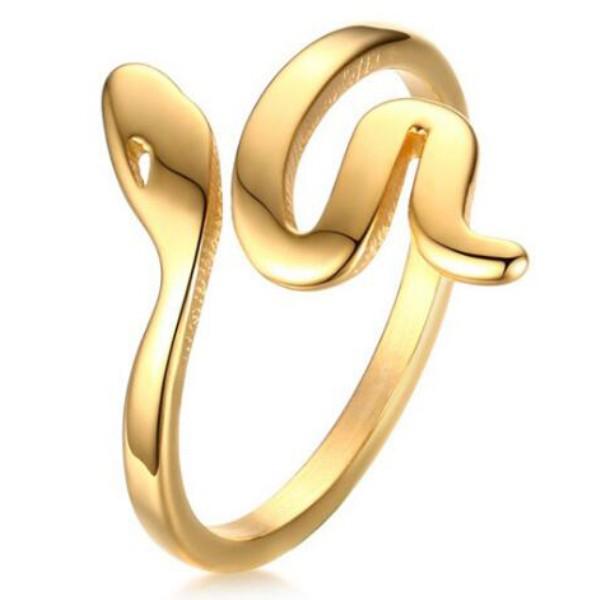 Titanio Oro Snake Anillos de Promesa Para Ella