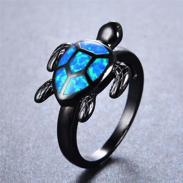 Azul Fire Ópalo Turtle Anillo