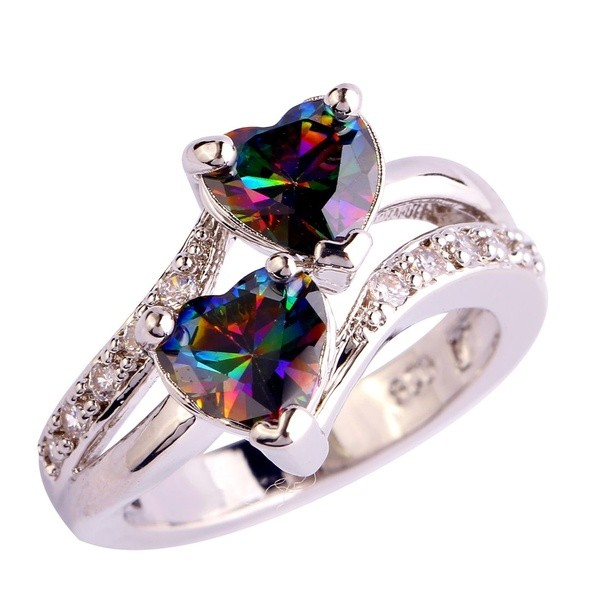 Corte Doble Corazón Vistoso Piedra Preciosa Anillos de Promesa Para Ella