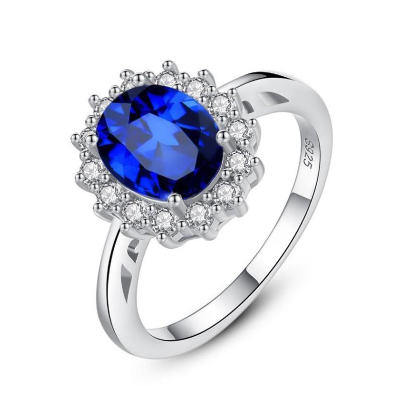 Corte Ovalado Azul Zafiro Plata de Ley 925 Anillo de Promesa