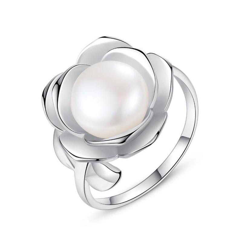 Redondo Perla Plata de Ley 925 Tamaño ajustable Anillo de Promesa