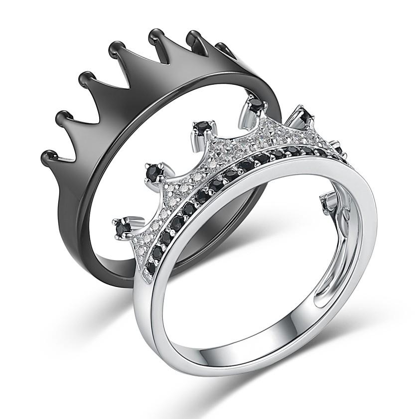 Su Reina Su Rey' Corona Negro y Plata Plata de Ley 925 Pareja Anillos de Promesa