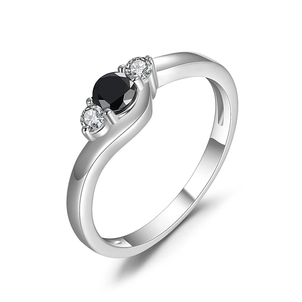Corte Redondo 1/4CT Piedra Preciosa Negro Plata Esterlina Anillo de Compromiso