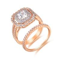 Oro Rosa Plata de Ley 925 Corte Princesa 1-1/2CT Piedra Preciosa Conjuntos de Anillos de Novia