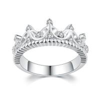 Corona Corte Redondo Piedra Preciosa Plata de Ley 925 Anillos de Promesa Para Ella
