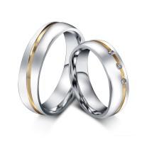 Oro y Plata Acero Titanio Piedra Preciosa Anillo de Promesa para Parejas