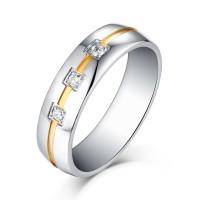 Corte Princesa Piedra Preciosa Plata y Oro Acero Titanio Wedding/Anillo de Compromiso