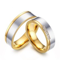 Oro & Plata Acero Titanio Anillos de Promesa para Parejas