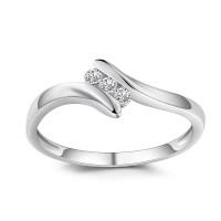 Corte Redondo 1/6CT Piedra Preciosa Plata Esterlina Anillo de Compromiso