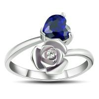 Corte Doble Corazón Azul Zafiro Plata de Ley 925 Anillos de Promesa Para Ella