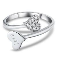 Corte Doble Corazón Piedra Preciosa Plata de Ley 925 Anillos de Promesa Para Ella