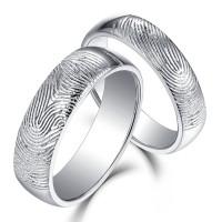 Sumosoly Textured Fingerprint Plata de Ley 925 Anillos de Pareja