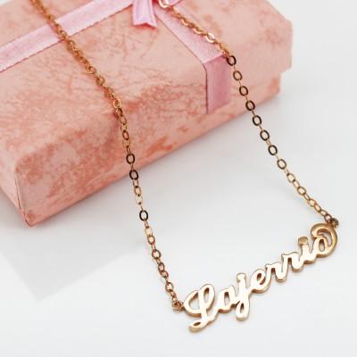 Oro Rosa S925 PlataPersonalizada Nombre Collares