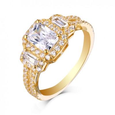 Corte Esmeralda Zafiro Blanco Oro Plata de Ley 925 3-Piedra Anillos de Compromiso