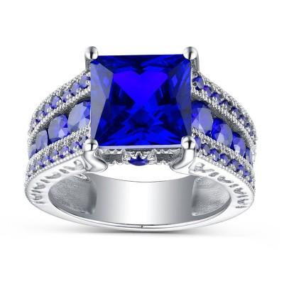 Corte Princesa Azul Zafiro Plata de Ley 925 Anillos de Compromiso