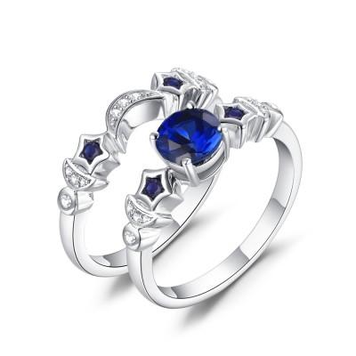 Luna y estrella Azul Zafiro Plata de Ley 925 Conjuntos de Anillos