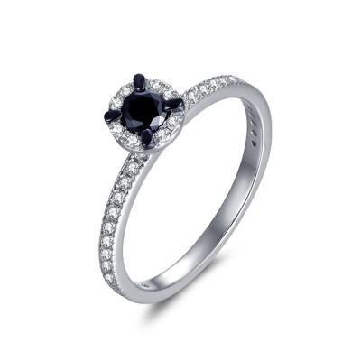 Corte Redondo 1/3CT Piedra Preciosa Negro Plata Esterlina Anillo de Compromiso