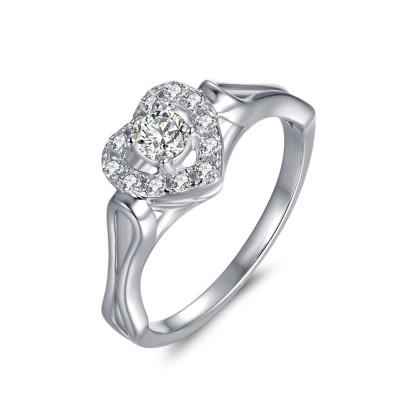 Corte Redondo 1/10CT Piedra Preciosa  CorazónFramed Plata Esterlina Anillo de Compromiso