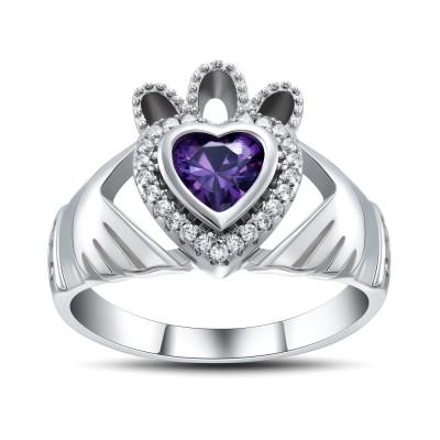 Corte Doble Corazón Amatista Plata de Ley 925 Anillos de Promesa Para Ella