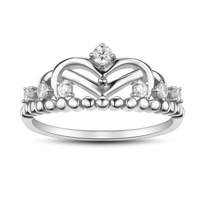 Corona Corte Redondo Zafiro Blanco Plata de Ley 925 Anillos de Promesa Para Ella