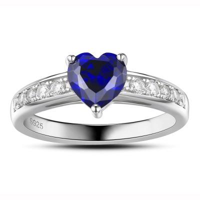 Zafiro Corte Doble Corazón Plata de Ley 925 Anillo de Compromiso de las Mujeres