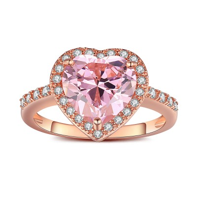 Corte Doble Corazón Rosado Zafiro Oro Rosa Plata de Ley 925 Anillo de Compromiso