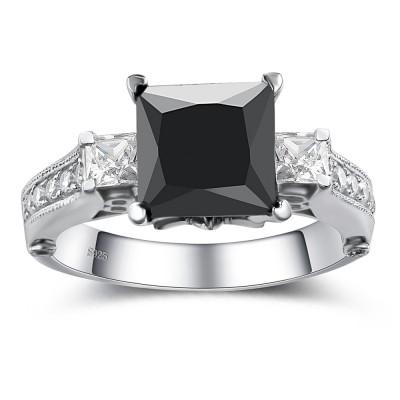 Corte Princesa Piedra Preciosa Negro Plata de Ley 925 Anillo de Compromiso
