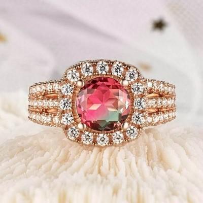 3.25CT Corte Redondo Plata de Ley 925 Oro Rosa Halo Sandía Anillos de compromiso